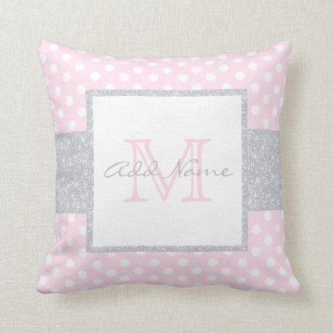 Monogram Grey Pink Polka Dot Baby Girl Pillow