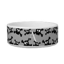 Monogram grey skulls pattern bowl
