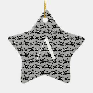 Monogram grey skulls pattern christmas ornament
