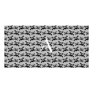 Monogram grey skulls pattern photo greeting card