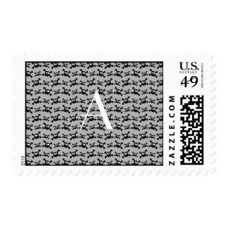 Monogram grey skulls pattern stamps