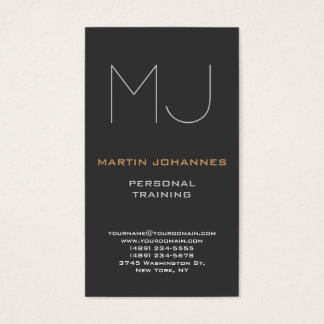 Monogram Grey Sport Personal Trainer Business Card