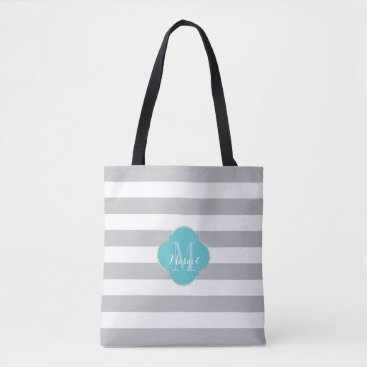 Beach Themed Monogram Grey Stripes and turquoise Tote Bag