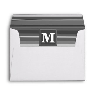Monogram grey stripes envelope