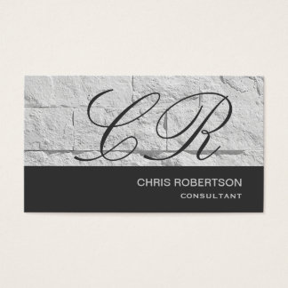 Monogram Grey Wall Brick Design Business Card