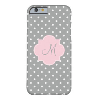 Monogram Grey, White and Pastel Pink Polka Dot Barely There iPhone 6 Case