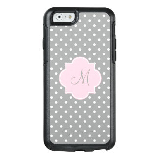 Monogram Grey, White and Pastel Pink Polka Dot OtterBox iPhone 6/6s Case