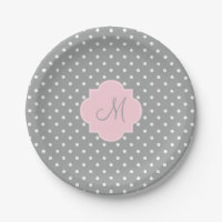 Monogram Grey, White and Pastel Pink Polka Dot Paper Plate