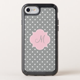 Monogram Grey, White and Pastel Pink Polka Dot Speck iPhone Case