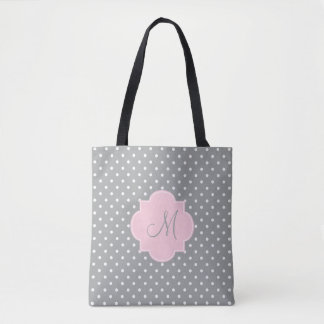 Monogram Grey, White and Pastel Pink Polka Dot Tote Bag