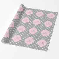 Monogram Grey, White and Pastel Pink Polka Dot Wrapping Paper