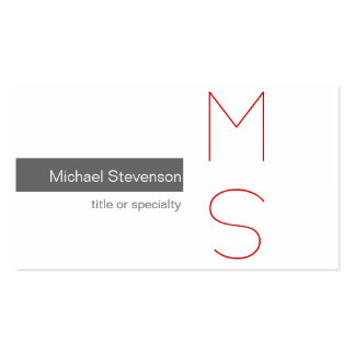 Monogram Grey White Photography Business Card