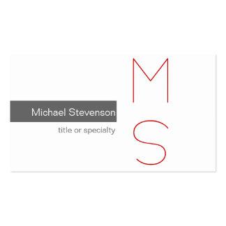 Monogram Grey White Photography Business Card