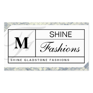 Monogram Grid Silver Tiles Business Card