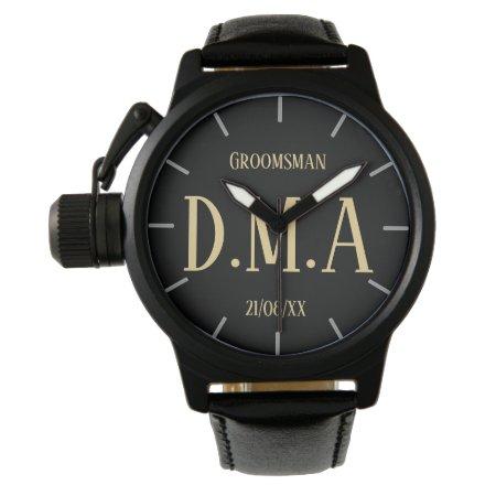 Monogram Groomsman Bestman Father Groom Bride Watch