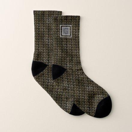 Monogram Groomsmen Best Man Black Gold Lion Damask Socks