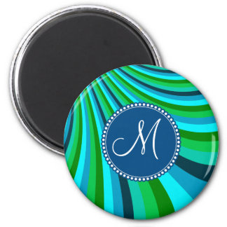 Monogram Groovy Blue Green Rainbow Slide Stripes 2 Inch Round Magnet