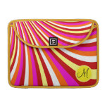 Monogram Groovy Hot Pink Red Yellow Orange Stripes Sleeves For MacBooks