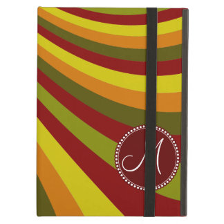 Monogram Groovy Red Yellow Orange Green Stripes Case For iPad Air