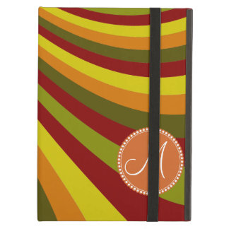 Monogram Groovy Red Yellow Orange Green Stripes iPad Air Cover