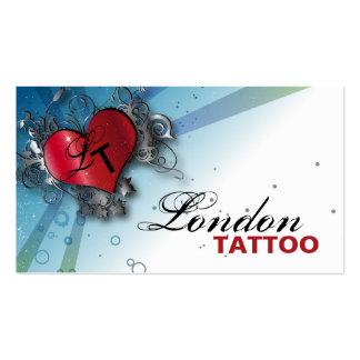 Monogram Grunge Heart Tattoo Artist Business Card