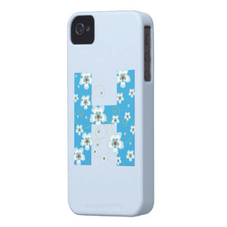 Monogram H blue floral hibiscus iphone 4 case