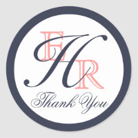 Monogram H Coral and Navy Wedding Thank You Classic Round Sticker