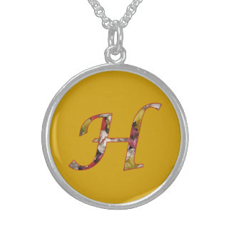 Monogram H Floral Design Necklace