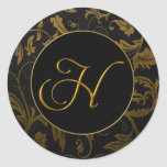 Monogram H Gold and Black Damask Wedding Seal Classic Round Sticker