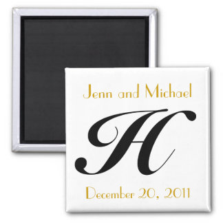 Monogram H Gold & Black Wedding Announcement 2 Inch Square Magnet