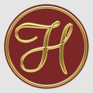Monogram H in 3D gold Classic Round Sticker