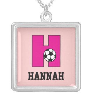 Monogram H in Soccer Pink Pendant