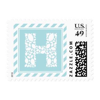 Monogram H Leaves & Stripes Custom Postage