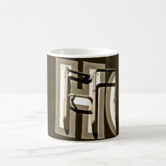 monogram h letter mug retro dark brown retro