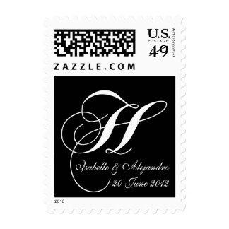 Monogram H Names Save Date Wedding Postage Stamps