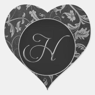 Monogram H Silver and Black Damask Wedding Seal