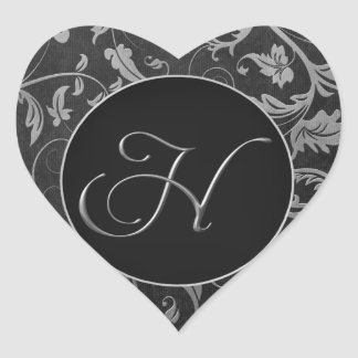 Monogram H Silver and Black Damask Wedding Seal Heart Sticker