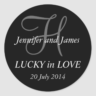 Monogram H Stickers for Weddings Black