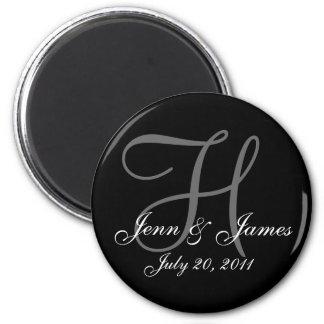 Monogram H Wedding Bride Groom Date Magnet