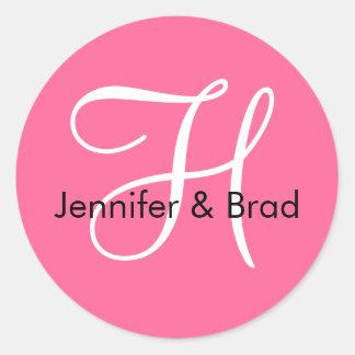 Monogram H Wedding Spring 2010 Pink Seal Classic Round Sticker