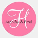 Monogram H Wedding Spring 2010 Pink Seal Stickers