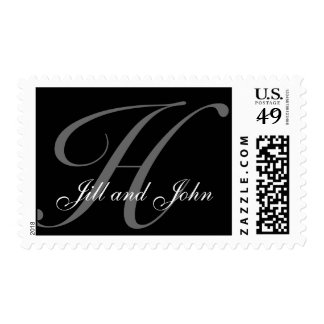 Monogram H Wedding Stamp with Names Black and Grey