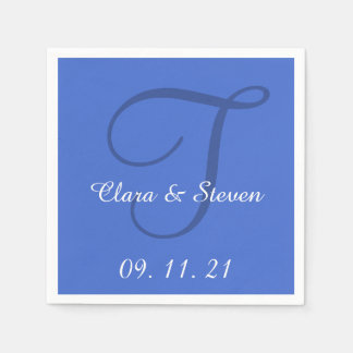 Monogram Han Blue Color Wedding Paper Napkins
