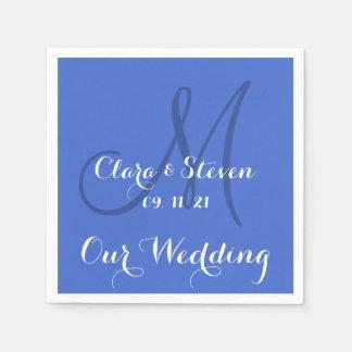 Monogram Han Blue Our Wedding Paper Napkins