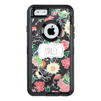 Monogram Hand Drawn Floral Pattern Chalkboard Otterbox Defender Iphone Case by girly_trend at Zazzle