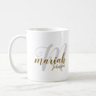 monogram handwritten font-style on white coffee mug
