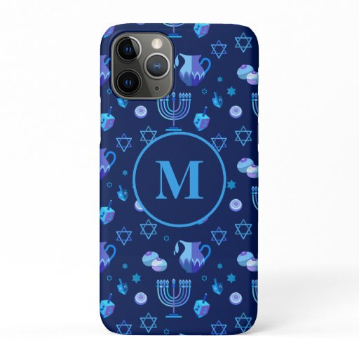 Monogram, Hanukkah Jewish Holiday Ornate Pattern iPhone 11 Pro Case
