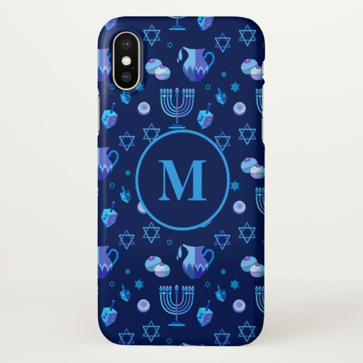 Monogram, Hanukkah Jewish Holiday Ornate Pattern iPhone X Case