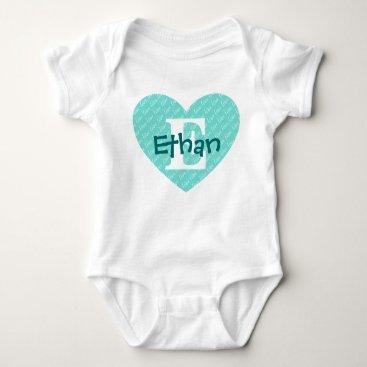 Valentines Themed Monogram Heart Baby Bodysuit
