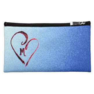 Monogram Heart Blue Sparkle Sueded Cosmetic Bag